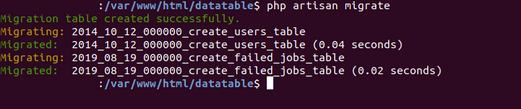 php artisan migrate